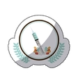 color sticker with syringe in circle with olive vector image vector image
