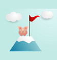 cute pig finish on top of mountain with red flag vector image vector image