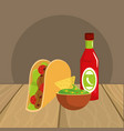 delicious mexican food cartoon on restaurant table vector image