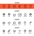 Different line style icons set Internet vector image vector image