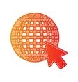 Earth Globe with cursor Orange applique isolated vector image
