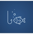 Fish with hook line icon vector image