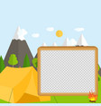 flat cartoon style nature landscape and trees vector image