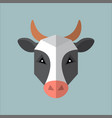 flat style poly cow icon isolated on a blue vector image vector image