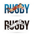 font rugby with rugby player action cartoon sport vector image