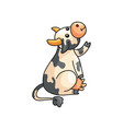 funny smiling spotted cow showing or asking vector image vector image