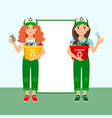 girls learning recycle trash vector image vector image