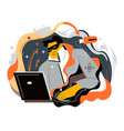 hacker with laptop cyber attack and crimes vector image