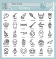 halloween line icon set horror symbols collection vector image