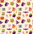 Halloween Seamless Pattern with Colorful Flat vector image vector image