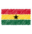 hand drawn national flag of ghana isolated on a vector image vector image