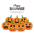 happy halloween card with set pumpkins vector image vector image