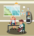 man and woman in the office vector image
