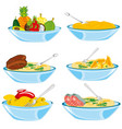 meal and fruit in plate vector image vector image