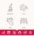 microscope medical pills and heart icons vector image vector image