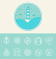 nautical and travel icons vector image vector image
