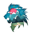 paper mountain landscape lion vector image
