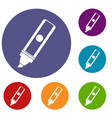 permanent marker icons set vector image