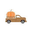 pumpkin truck design template isolated vector image vector image