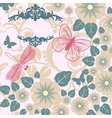 retro background with stylized insects and flowers vector image vector image
