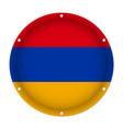 round metallic flag of armenia with screw holes vector image vector image