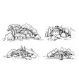 rural scene with houses and trees sketch vector image