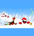 santa claus and reindeer in christmas night vector image
