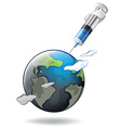 Save the world theme with earth and syringe vector image vector image