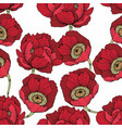 seamless pattern with red flowers for design vector image