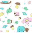 seamless pattern with snails mushrooms and flower vector image vector image