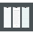 Set of blank white notepaper vertical web banners vector image vector image