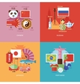 Set of flat design concepts for foreign languages vector image
