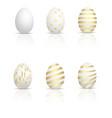 set of golden eggs for easter vector image