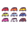 set of mini electric car in in different colors vector image