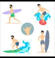 set of of surfing men on vector image vector image