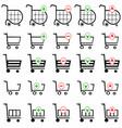 shopping cart set on white background vector image vector image