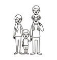 silhouette caricature family parents with boy on vector image vector image