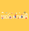 social network lettering vector image