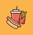 soda soft drink french fries and hot dog vector image
