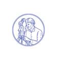 Surveyor Theodolite Circle Mono Line vector image vector image