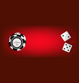 top view of casino chips dice on red background vector image vector image