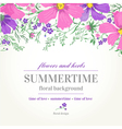wedding invitation with pink and purple flowers vector image vector image