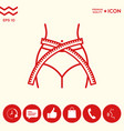 women waist with measuring tape weight loss diet vector image