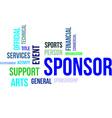 word cloud sponsor vector image vector image