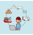 worker with laptop logistic delivery shipping boat vector image vector image