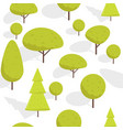 seamless cartoon isometric trees pattern vector image