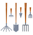 agriculture farming tools garden equipment flat vector image