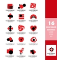 Corporate business red logo icon set vector image