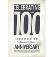 100 years anniversary retro background vector image vector image