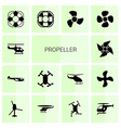 14 propeller icons vector image vector image